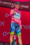 Risoul, France May 27, 2016; Esteban Chaves, Orica team, on the podium after a hard mountain stage Royalty Free Stock Image