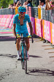 Risoul, France May 27, 2016; Michele Scarponi, Astana Team, exhausted passes the finish line after a hard mountain stage Stock Images