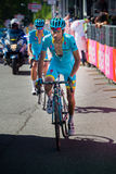 Risoul, France May 27, 2016; Michele Scarponi, Astana Team, exhausted passes the finish line after a hard mountain stage Royalty Free Stock Photography