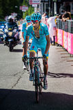 Risoul, France May 27, 2016; Michele Scarponi, Astana Team, exhausted passes the finish line after a hard mountain stage Royalty Free Stock Image
