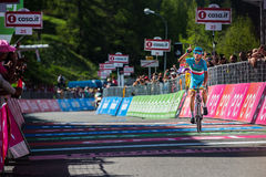 Risoul, France May 27, 2016; Vincenzo Nibali, Astana Team, exhausted passes the finish line and Win  the stage. Stock Photo