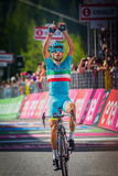 Risoul, France May 27, 2016; Vincenzo Nibali, Astana Team, exhausted passes the finish line and Win  the stage. Royalty Free Stock Images