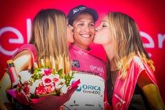 Risoul, Francja Maj 27, 2016; Esteban Chaves, Orica drużyna na podium po ciężkiej halnej sceny, Zdjęcie Royalty Free