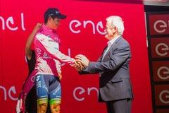 Risoul, Francja Maj 27, 2016; Esteban Chaves, Orica drużyna na podium po ciężkiej halnej sceny, Fotografia Stock