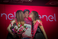 Risoul, Francja Maj 27, 2016; Esteban Chaves, Orica drużyna na podium po ciężkiej halnej sceny, Obraz Royalty Free