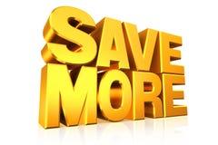 risparmi del testo dell'oro 3D più Fotografia Stock Libera da Diritti