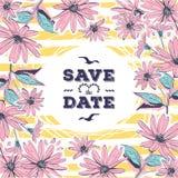 Risparmi della partecipazione di nozze l'iscrizione della data Fiori floreali del disegno della struttura royalty illustrazione gratis