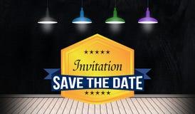 Risparmi di Inivitation il distintivo della data nella vista della stanza 3D Fotografie Stock