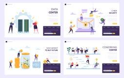 Risparmi i soldi per comprare l'insieme d'atterraggio futuro della pagina Data Center e sicurezza cyber proteggere informazioni p illustrazione di stock