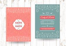 Risparmi nautici l'invito marino di nozze di vettore delle carte di data illustrazione vettoriale