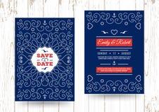Risparmi nautici l'invito marino di nozze di vettore delle carte di data Fotografia Stock Libera da Diritti