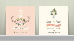 Risparmi rustici di nozze dei fiori di Antler la carta dell'invito della data illustrazione vettoriale