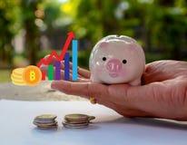 Risparmiando i soldi, conservi il concetto di risparmio dei soldi immagine stock libera da diritti