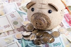Risparmio in banca piggy Immagine Stock Libera da Diritti
