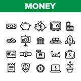 Risparmio dei soldi, contante le illustrazioni lineari di vettore royalty illustrazione gratis