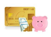 Risparmio della carta di credito Immagini Stock