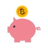 Risparmio di porcellino con bitcoin Fotografie Stock Libere da Diritti
