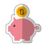 Risparmio di porcellino con bitcoin Fotografia Stock
