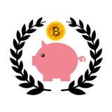 Risparmio di porcellino con bitcoin Immagine Stock Libera da Diritti