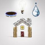 Risparmio ed offerte dei servizi ad energia e ad acqua Fotografia Stock Libera da Diritti