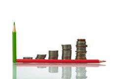 Risparmio, monete aumentanti delle colonne e matita sulla b bianca Fotografia Stock