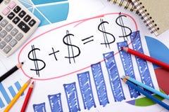 Risparmio o formula semplice di pensionamento Fotografia Stock