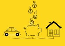 Risparmio per il concetto dell'automobile e della casa
