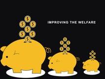 Risparmio sul porcellino salvadanaio illustrazione vettoriale