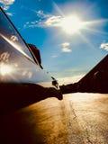 Rispecchiandosi del sole in porta dell'automobile Fotografie Stock