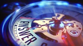 Risposta - iscrizione sull'orologio d'annata 3d Immagini Stock