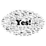 Risposta sì Illustrazione della nuvola di parola di tipografia Vettore isolato su bianco Fotografia Stock Libera da Diritti