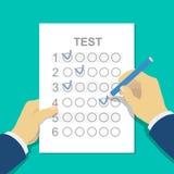 Risposte al modulo di risposta della prova dell'esame con la matita illustrazione di stock