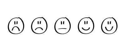 Risposte di valutazione nere disegnate a mano di soddisfazione nella forma di emozioni illustrazione di stock