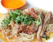 Rispy duck breast with fried noodles and vegetables Stock Images