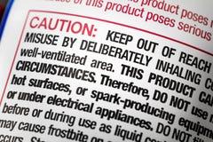 Risque chimique de label d'abus de précaution de danger image libre de droits