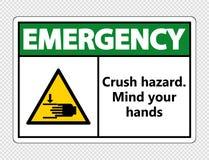risque d'écrasement de secours de symbole Occupez-vous de vos mains se connectent le fond transparent, illustration de vecteur illustration libre de droits