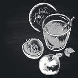 Risque a ilustração tirada do vidro completo com suco de maçã Nutrição saudável Copie o espaço ilustração royalty free