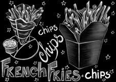 Risque o alimento do estilo, o pacote e palavras tirados da caligrafia no fundo preto liso ilustração do vetor