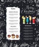 Risque o projeto drawning do menu do Natal Molde do projeto do inverno para o café, restaurante Alimento, bebidas e elementos do  ilustração stock