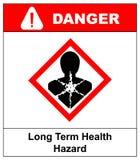 Risque sanitaire à long terme, homme dans le symbole rouge de losange Bannière de danger pour l'usine Illustration de vecteur illustration de vecteur
