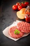 Rissóis crus do Hamburger da carne com ingredientes frescos Imagens de Stock Royalty Free