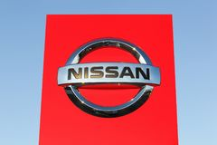 Nissan logo on a panel. Risskov, Denmark - October 28, 2017: Nissan logo on a panel. Nissan Motor Company Ltd, usually shortened to Nissan is a Japanese Royalty Free Stock Photography