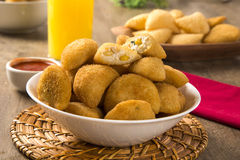 Rissole - Corn and cheese rissole served with chili sauce on woo Royalty Free Stock Image