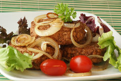 Rissole with grilled organic onion Stock Image