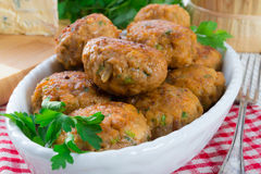 Rissole with mould cheese and parsley Stock Photos