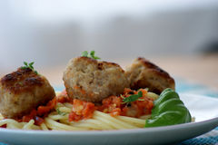 Rissole with pasta and tomato sauce Royalty Free Stock Images