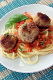 Rissole with pasta and tomato sauce Stock Photography