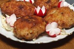 Rissoles de viande avec le radis de jardin Photographie stock libre de droits