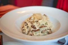 Rissoto mit Pilzen und Parmesankäseparmesankäse stockbild
