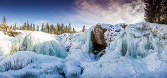 Ristafalet. A frozen waterfall in Sweden, just around the corner of the wintersport capital Åre Royalty Free Stock Photos